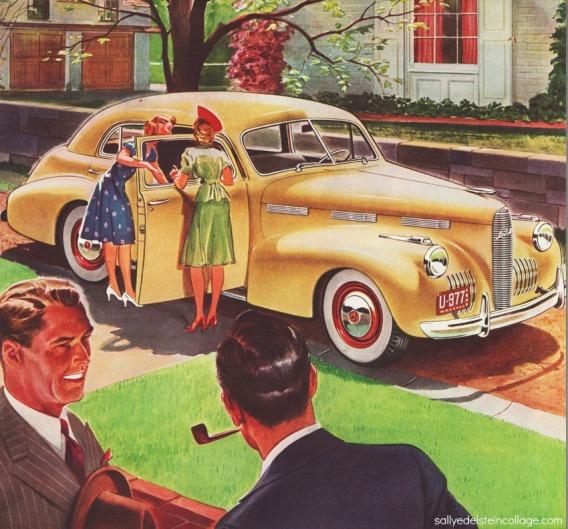 vintage illustration 1940s car La Salle