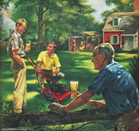 Men in 1950s suburbia mowing lawns