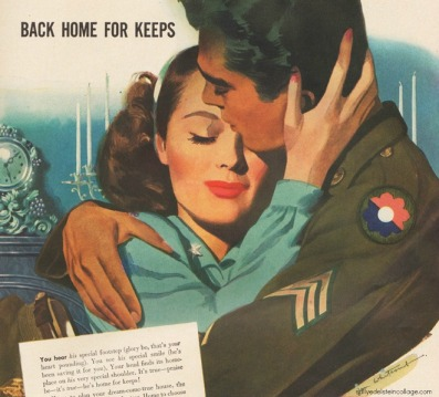 vintage illustration ww2 soldier embracing girl 1945
