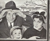 Family searching for suburban Model Homes 1950s