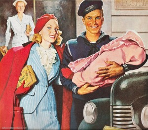 vintage illustration of ww2 vet and wife and baby 1940s