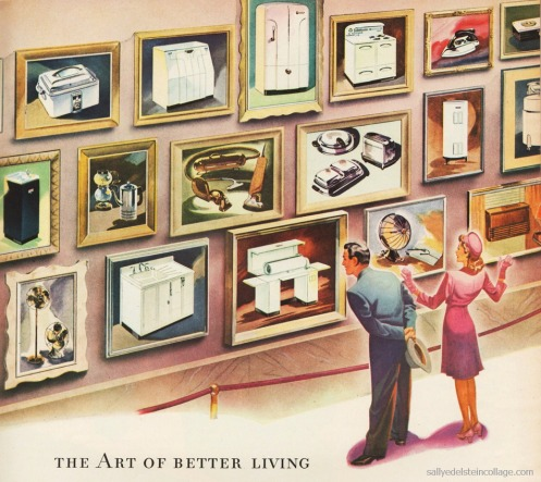 Vintage illustration Westinghouse Ad new appliances for postwar home