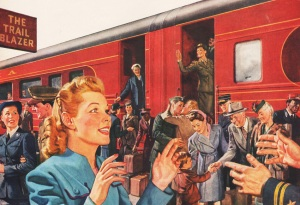 Vintage illustration returning ww2 vets are greeted at train 1945
