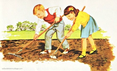 vintage childrens book illustration 1960 suburbia gardening children raking