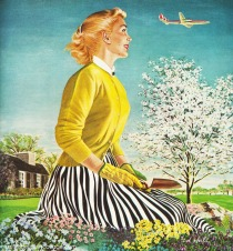 vintagae illustration woman gardening 1950s suburbia
