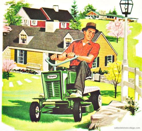 Suburban 1950s man mowing lawn
