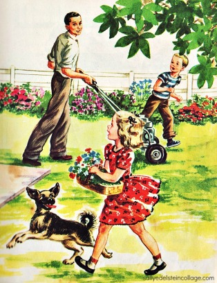 vintgage illustration 1950s happy Family in garden