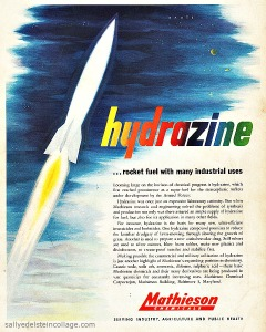 Rocket ship in space Chemicals ad 1950