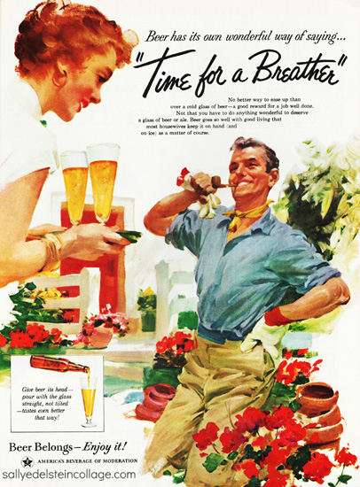 vintage illustration man and woman gardenining