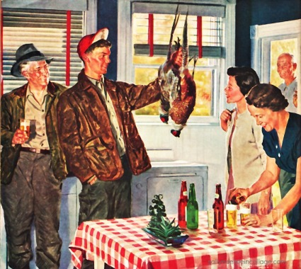 vintage illustration happy 1950s family welcoming home hunters holding their prey