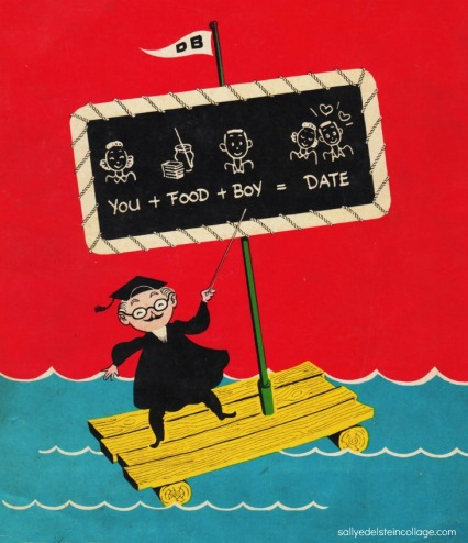 vintage illustration cartoon proffesor on a raft 1950s