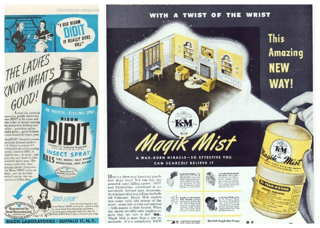 vintage illustration bug sprays in homes mid century housewives