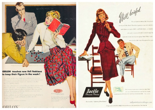 vintage fashion ads illustration of college girls 1940s & 1950s