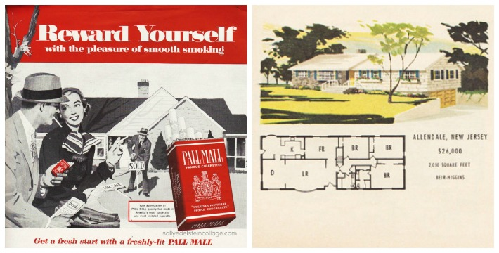 vintage illustrations 1950s couple buying a house