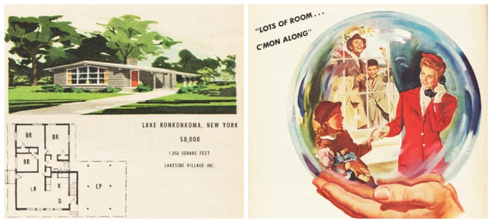 vintage illustration postwar suburban house and 1940s American family in bubble