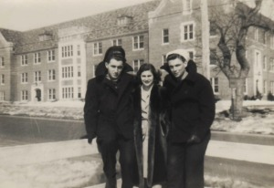 college student and wwII ssoldiers on colleg campus