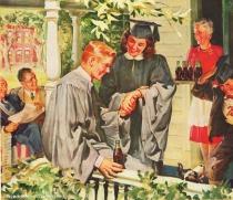 vintage illustration graduates shaing a coke