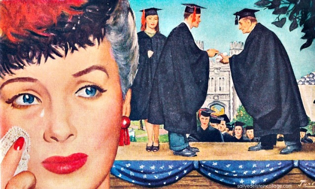 vintage illustration mother crying college students graduating 1940s