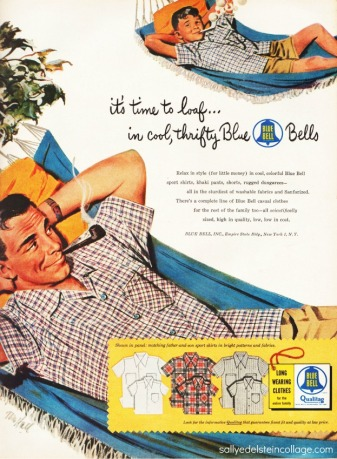 vintage illustration art & advertising 1950s father and son in hammocks
