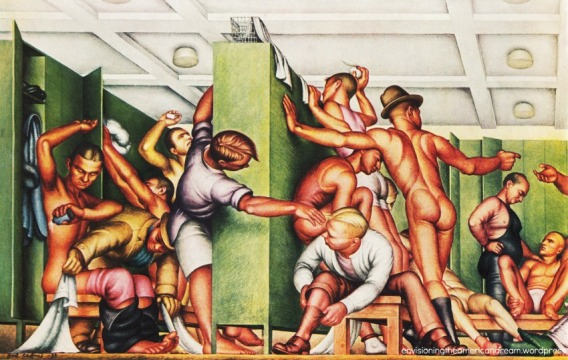 Art Gay Mens Locker Room YMCA 1930s painting