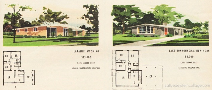 vintage illustration postwar suburban houses and blueprints 1950s