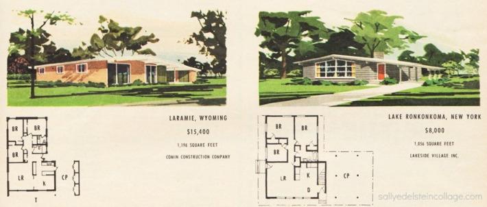 vintage illustration postwar suburban houses and blueprints 1950s