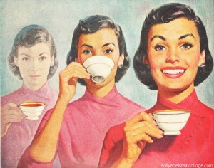vintage illustration w1950s woman drinking coffee
