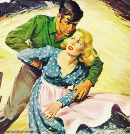 vintage pulp illustration man and woman fighting