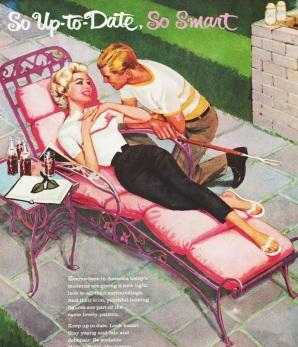 vintage illustration of suburban couple enjoying suburban life 1950s