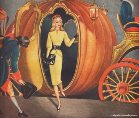 vintage illustration art and advertising 1940s woman in Cinderellas Royal pumpkin coach