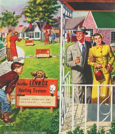 vintage illustration in ad, suburban couples and families looking at houses 1950s