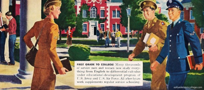 vintage illustration wwii vets on colleg campus 1940s