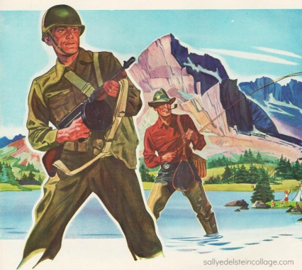 vintage illustration WWII soldier returning vet fisherman wwii