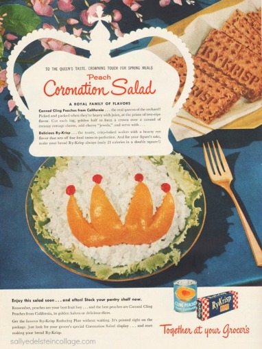 cottage cheese salad with crown shaped cling peaches