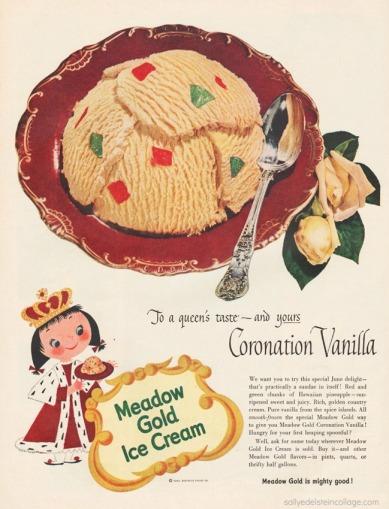 illustration of cartoon Queen eating ice cream