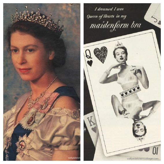 photo of Queen Elizabeth 1949 lingerie ad woman in a bra and crown