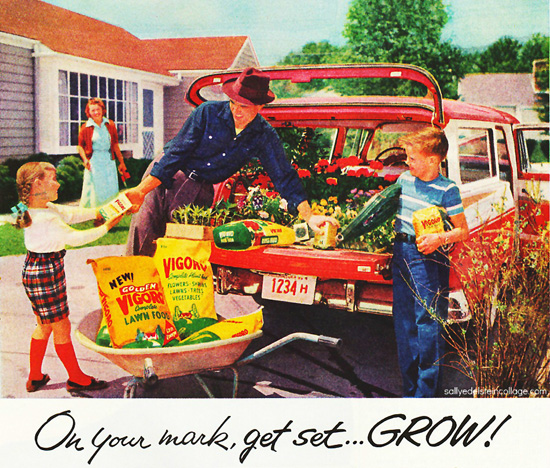 photo mid century suburban family gardening station wagon