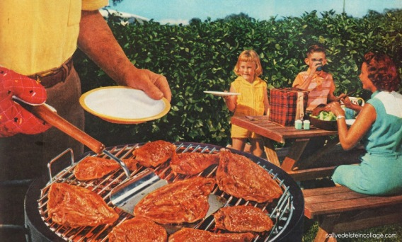 1950s family at backyard barbecue grill