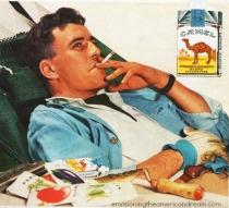 man smoking cigarettes gardening