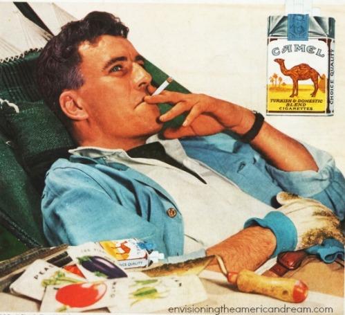 suburban man smoking cigarette while gardening