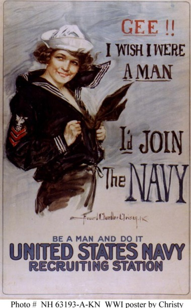 art WWI navy Recruiting poster Gee I wish I were a man