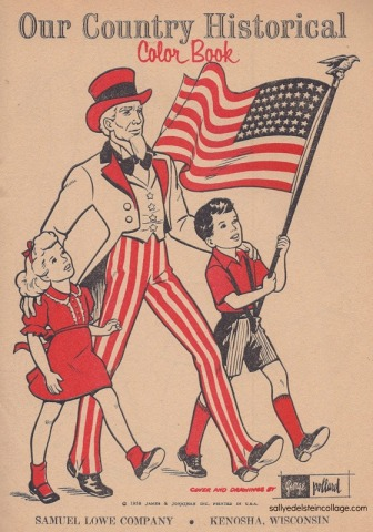 vintage illustration Uncle Sam and children waving American Flag1950s
