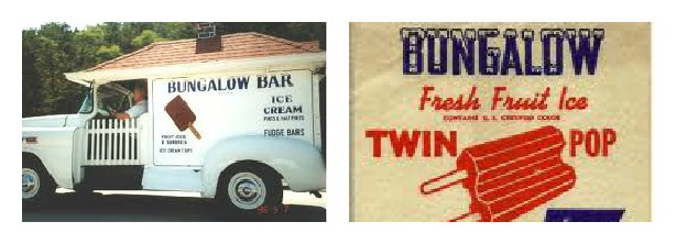 Bungalow bar Ice Cream truck and vintage wrapper twin pop