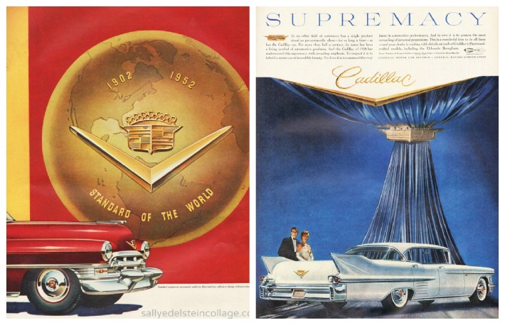 vintage ad and illustration of  1950s Cadillac