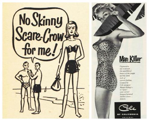 Vintage illustration swimsuit models 1950s