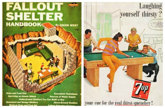 vintage 1961 7 Up ad teens and vintage fallout shelter booklet 1960s