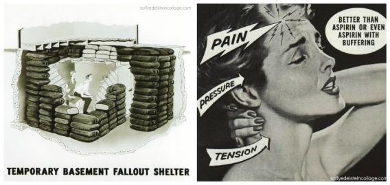 vintage ad anacin 1960 and vintage fallout shelter plan 1959