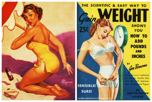 vintage 1950s Gil Evgren illustration swimsuit pinup and vintage illustration woman measuring her self