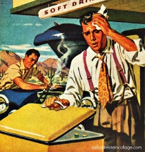 vintage illustration overheated man and car