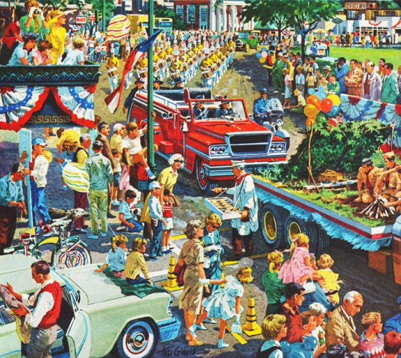 Parade on Main Street vintage illustration